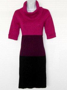 Karin Stevens Sweater Dress Medium M Pink Purple Black Colorblock Turtleneck NWT
