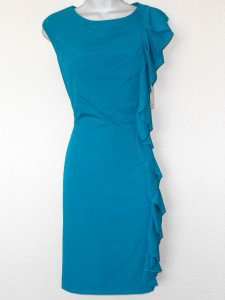 Calvin Klein CK Dress Size 10 Teal Lagoon Blue Ruffle Sheath Career Cocktail NWT