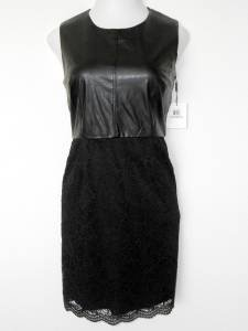 Calvin Klein Black Dress Size 12 Faux Leather and Lace Sheath Cocktail Edgy
