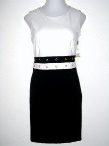Calvin Klein CK Dress Size Sz 4 Black Ivory Colorblock Knit Sheath NWT New