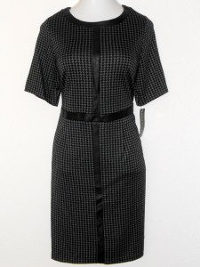 Connected Apparel Dress Size 14W Gray Black Houndstooth Faux Leather Trim NWT