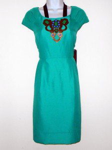 Miss Sixty Dress Size 14 Mint Teal Green Satin Boho Embellished Cocktail NWT