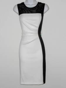 Sandra Darren Dress Size 10 Ivory Black Colorblock Mesh Illusion Scuba NWT