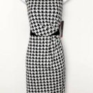 Rafaella Dress Size 8 Black White Houndstooth Print Stretch Sheath Career