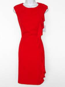 Calvin Klein Dress Size 8 Red Ruffle Stretch Sheath Career Cocktail NWT