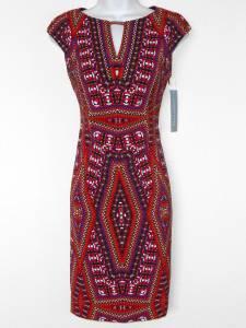 London Times Dress Size 8 Multi Geometric Print Stretch Sheath Keyhole