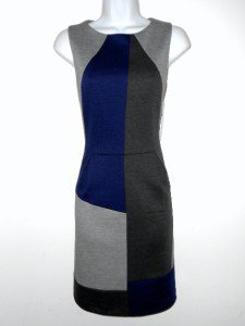 Nine West Dress Size Sz 12 Navy Blue Gray Mod Geometric Colorblock Knit NWT