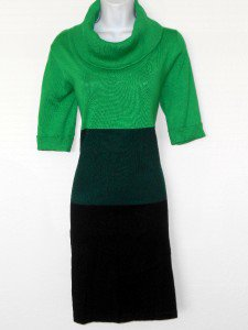 Karin Stevens Sweater Dress Large L Green Teal Black Colorblock Turtleneck New