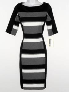 Julian Taylor Dress Size 20W Black Gray White Striped Colorblock Knit NWT
