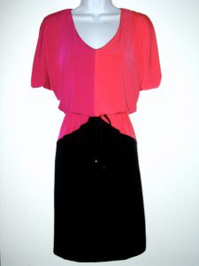 London Times Dress Size 10 Hot Pink Coral Black Colorblock Blouson Jersey NWT