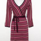 Donna Ricco Sweater Dress Medium M Purple Pink Cream Zigzag Knit Belt NWT