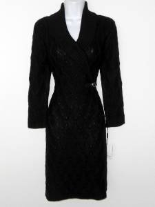 Calvin Klein Black Sweater Dress Medium M Med Geo Cable Knit Buckle NWT