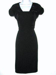 Adrianna Papell Black Dress Size 4 Cap Sleeve Stretch Mesh Illusion Cutout NWT