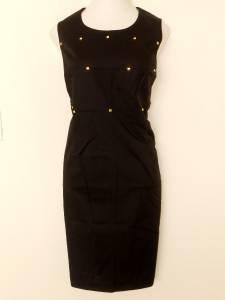 Calvin Klein Black Dress Size 20W Stretch Cotton Sheath Gold Beads NWT
