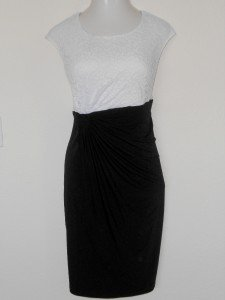 Connected Apparel Dress Size 20W White Lace Black Stretch Gathered Cocktail New