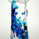 London Times Dress Sz 2 Shift Stretch Cotton White Blue Watercolor Floral NWT