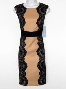 London Times Dress Beige Black Mirror Lace Print Stretch Sheath Petites NWT