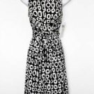 Maggy London Dress Black White O Print Stretch Tie-Waist Versatile NWT