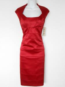 Sangria Dress Red Satin Bandage Stretch Cocktail Petites NWT