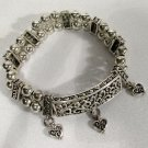 Silver Tone Heart Charm Bracelet 8.5 Inches