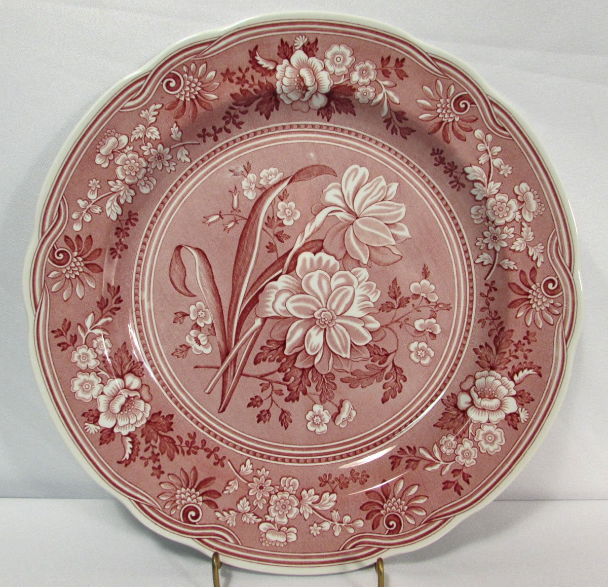 """Spode Archive Collection Georgian Series Botanical 10.5"""" Dinner Plate Cranberry"""