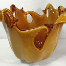 Italian Murano Caramel Amber Cased Art Glass Vase Large Contemporary A+