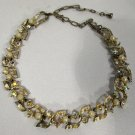 Vintage Signed Lisner Pearl and AB Rhinestone Gold Tone Choker Necklace 17 1/2""