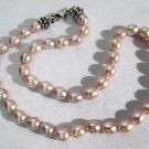 "Honora 18"" Cultured 7.5 x 9mm Pink Pearl Necklace Sterling Silver 925 Crab Lock"