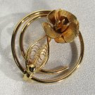 Vintage Sarah Coventry Signed Gold Tone Circle Brooch Pin Rose & Filigree Leaf