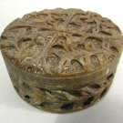 Vintage Carved Soapstone Trinket Box w/ Lid