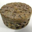 Vintage Carved Soapstone Trinket Box w/ Lid