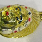 Vintage Mercury Glass Christmas Ornament Indian Chief Head in Headdress Yellow