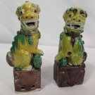 "Pair Antique Chinese Porcelain Foo Dog Lion 6"" Statues"