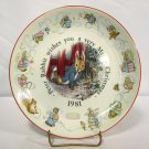 Beatrix Potter Peter Rabbit Christmas Plate Wedgwood Etruria & Barlaston 1981