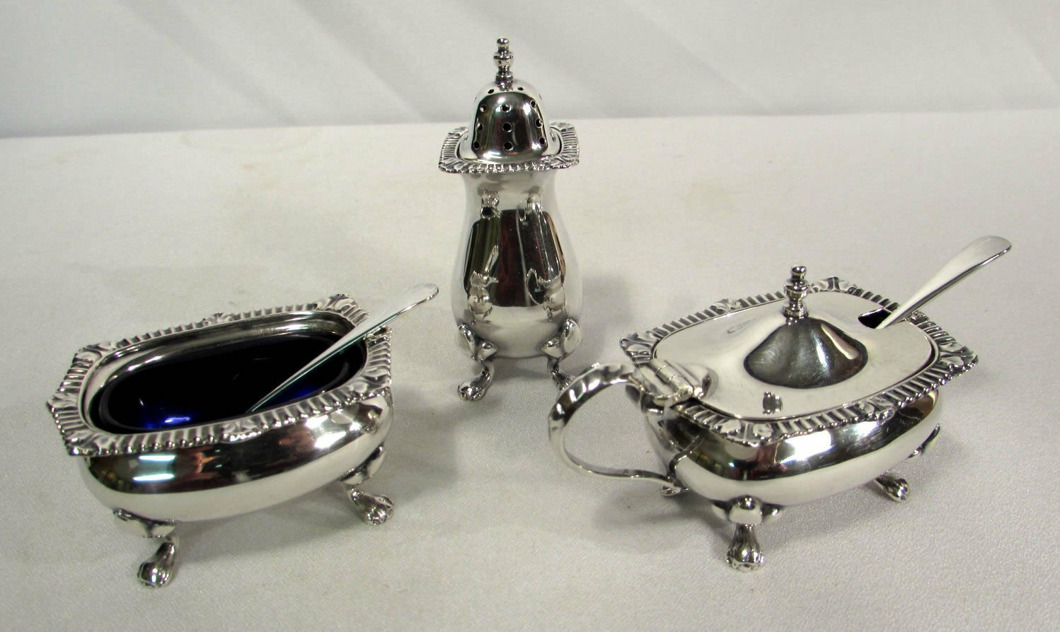 Synyer & Beddoes Birmingham Sterling Silver 3 Pc Condiment Set w/ Cobalt Liners
