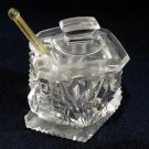 Antique Cut Glass Diamond Footed Base Mustard w/ Lid and Spoon NICE