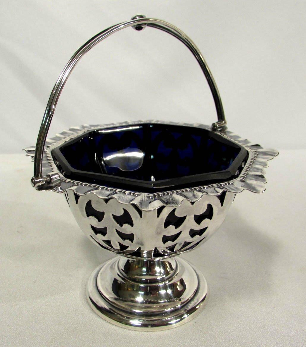 John & William Deakin London & Sheffield Sterling Silver Basket Cobalt Liner