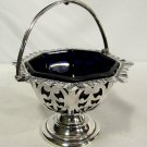 John & William Deakin London & Sheffield Sterling Silver Basket Cobalt Liner