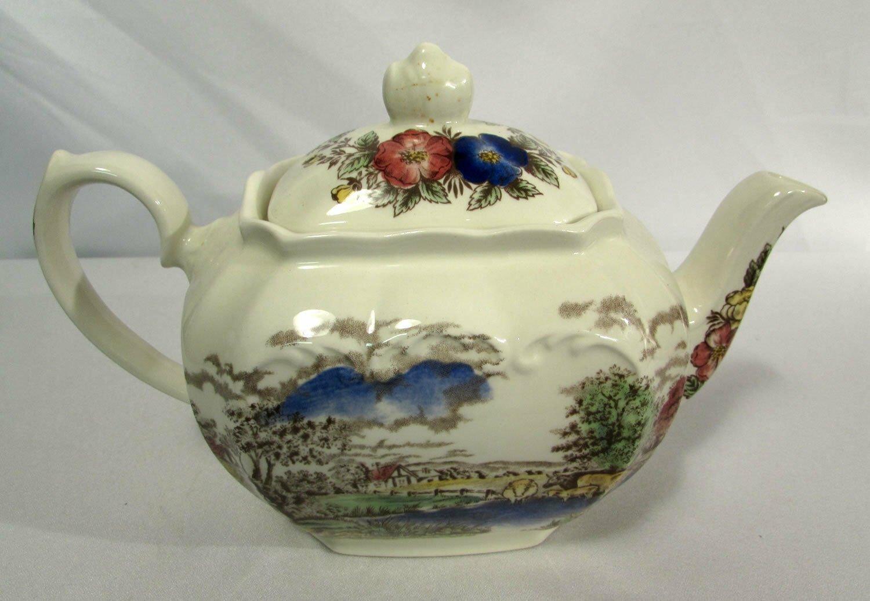 Vintage Windsor England 4 Cup Teapot & Lid Country Scene Floral Rim No Trim