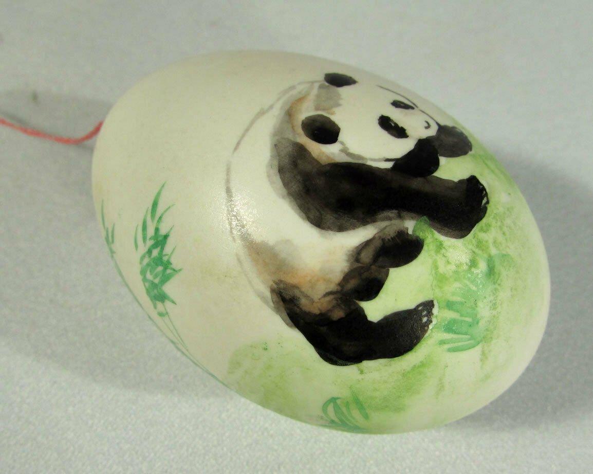 Real Hand Decorated Egg Ornament Panda Bears Watercolor