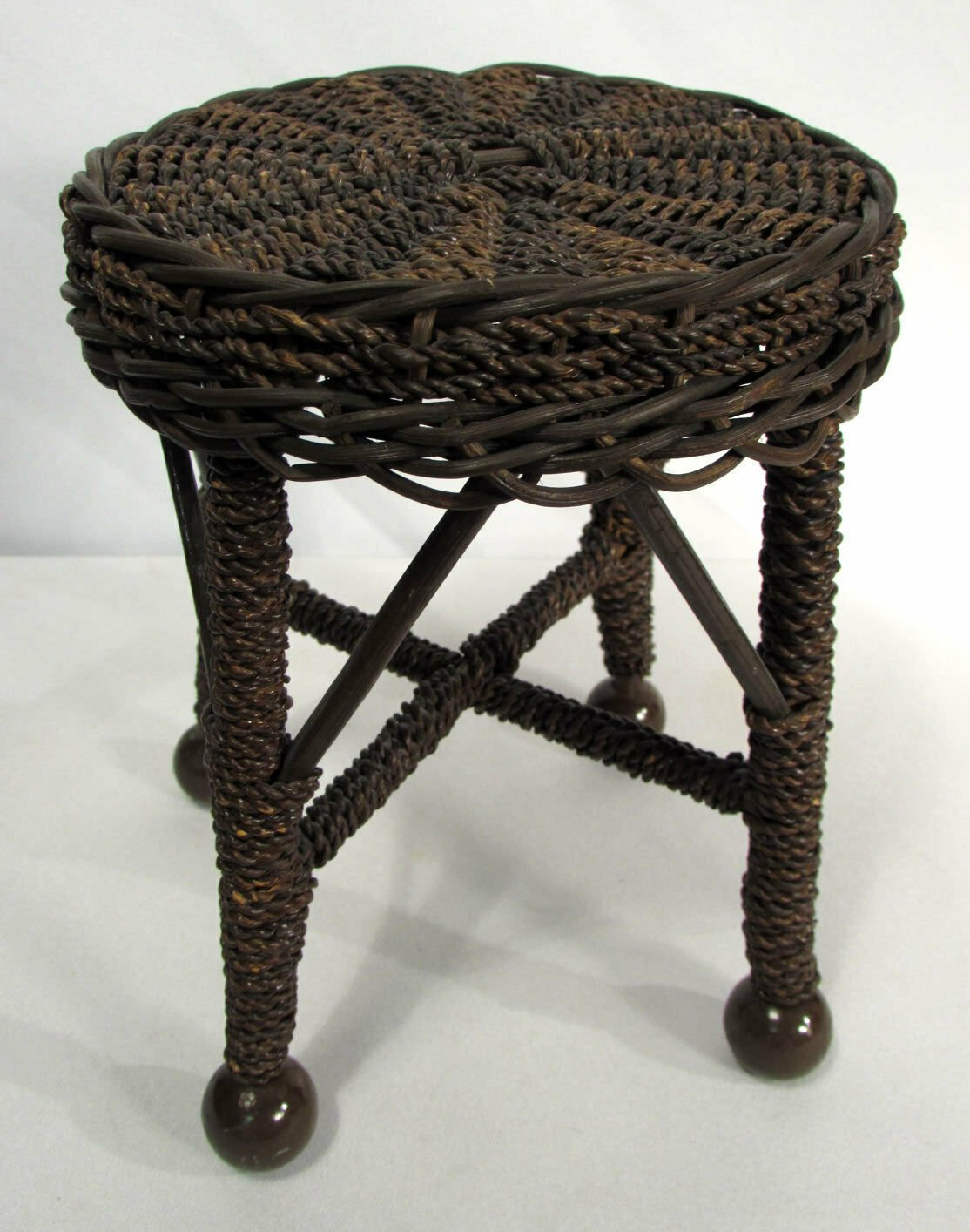 "Vintage Seagrass & Wicker Miniature Stool Side Table Doll Salesman Sample 8"""