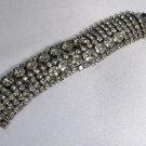 Vintage Weiss Wide Bracelet Cut Crystal Rhinestone Shimmer Fashion