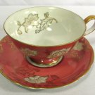 Vintage CDGC China Cup & Saucer White Flowers Gold Leaves on Salmon NICE