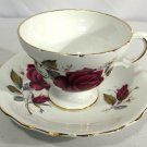 Vtg Royal Dover Cup & Saucer Bone China England Roses Scalloped Gold Trim NICE