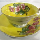 Vintage Jyoto China Cup & Saucer Occupied Japan Floral on Yellow Gold Trim NICE