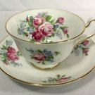 Vintage Rosina-Queens Cup & Saucer Footed 4870 Roses (Smooth) Bone China England