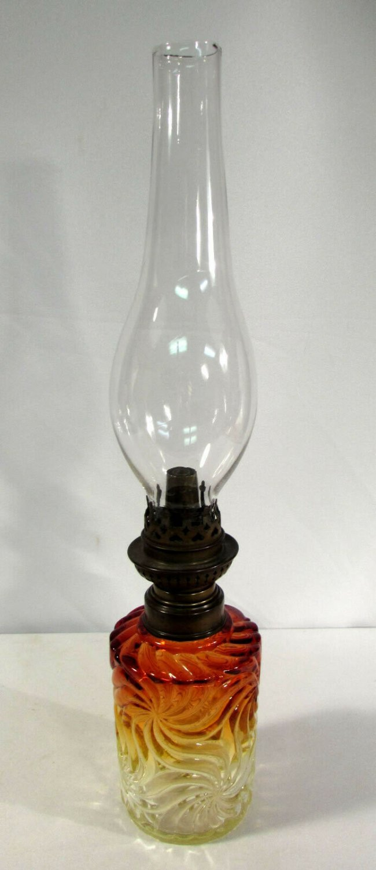 Baccarat Rose Tiente Oil Lamp Amberina Rosette Swirl W&W Kosmos Adjuster
