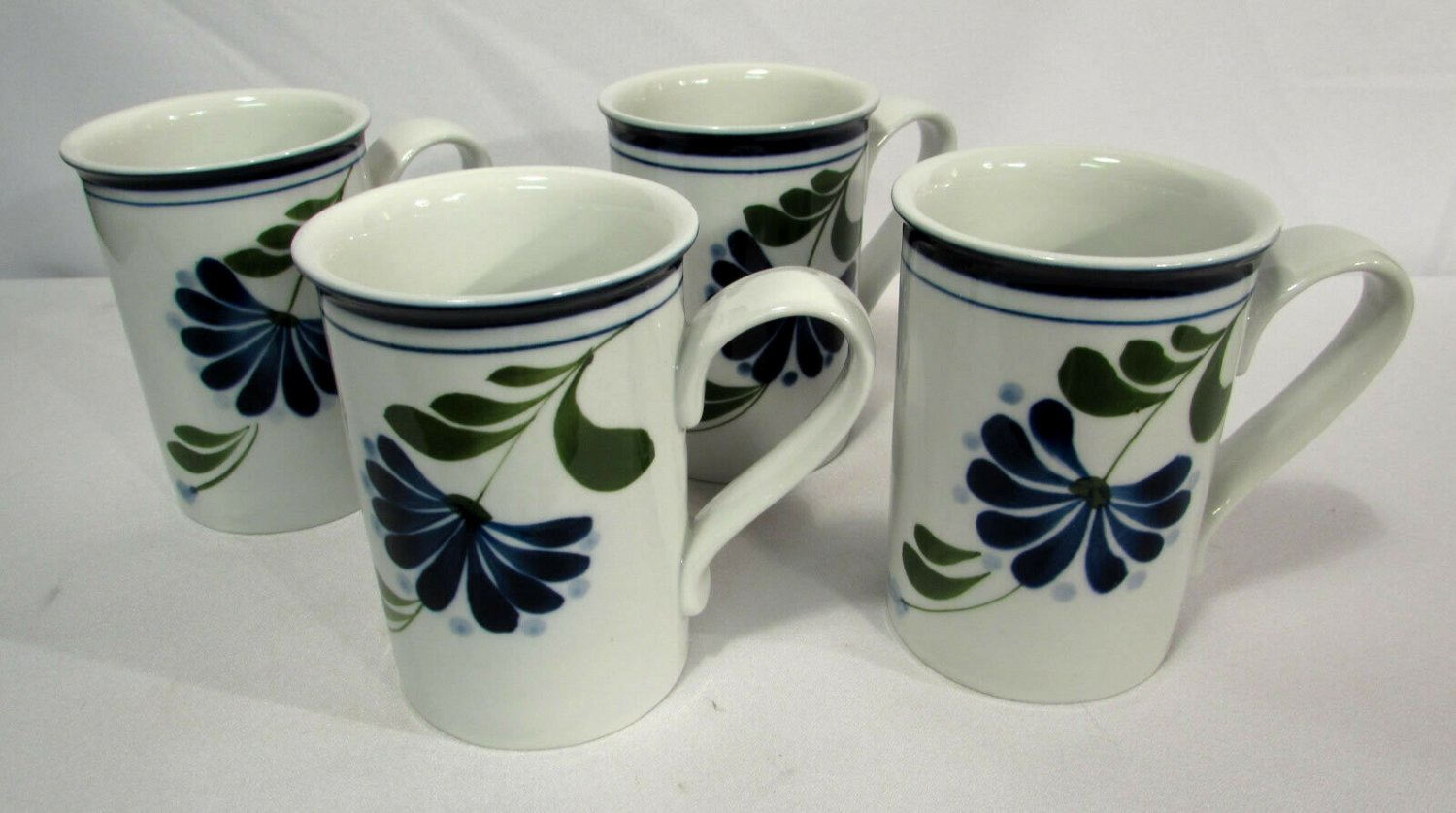 Sage Song by Dansk Mugs (4) Blue Band, Flowers, Dots, Green Leaves Discontinued