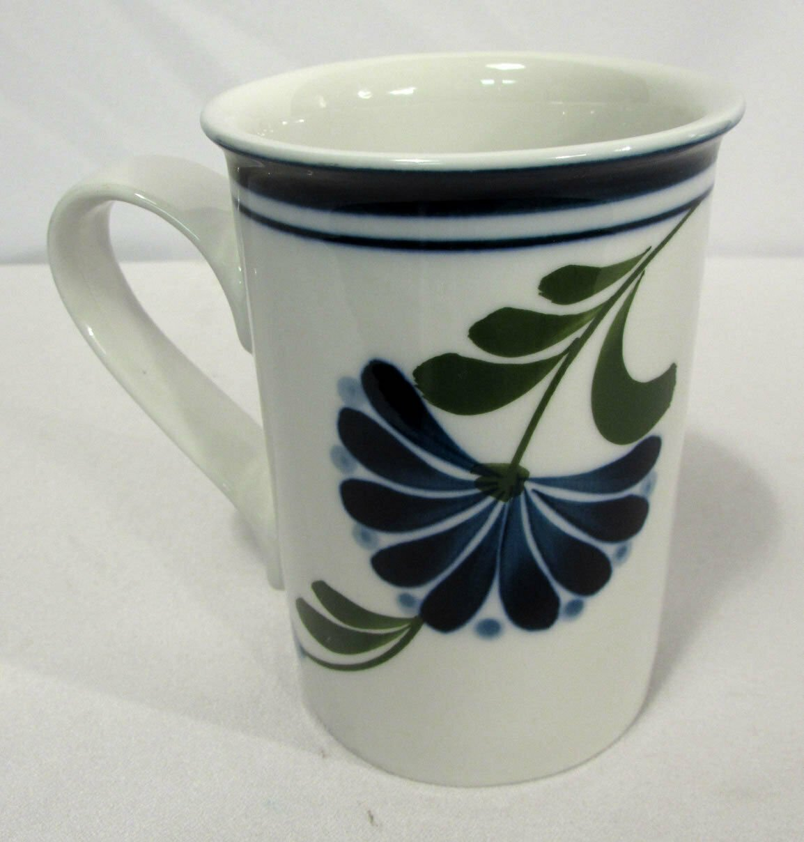 Sage Song by Dansk Mug (1) Blue Band, Flowers, Dots, Green Leaves Discontinued
