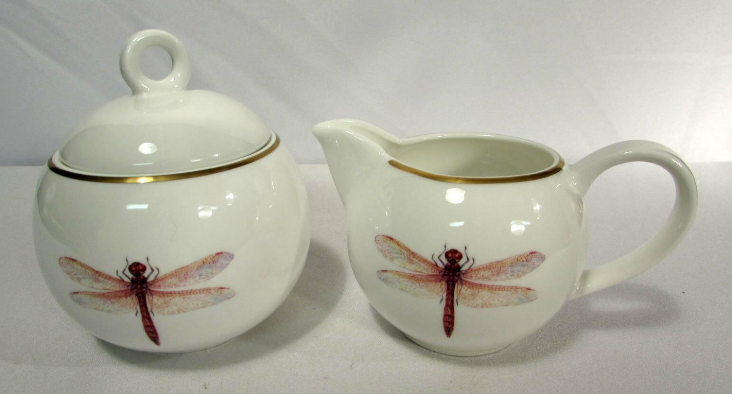 Gilitzer Porzellan Germany Fine Bone China Dragonfly Covered Sugar Creamer